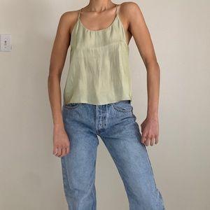 Light green satin shirt